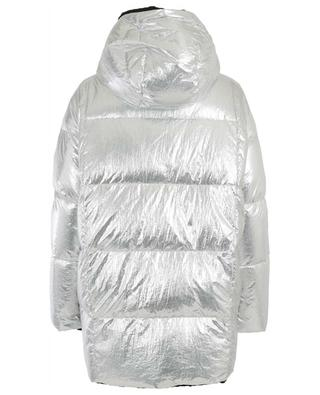 Silver nylon and rabbit fur down jacket YVES SALOMON