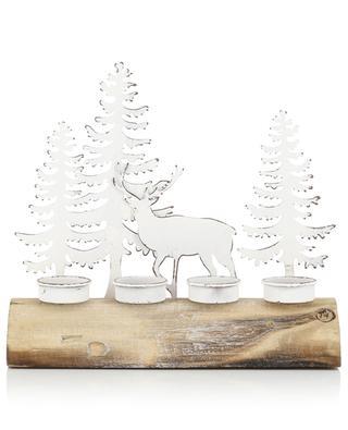 Bougeoir en métal et bois naturel JOLIPA