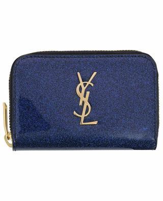 Petit portefeuille en cuir verni pailleté Monogram SAINT LAURENT PARIS