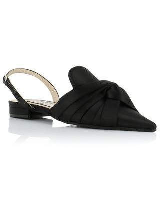 Slingback-Ballerinas aus Leder und Satin mit spitzer Kappe N°21