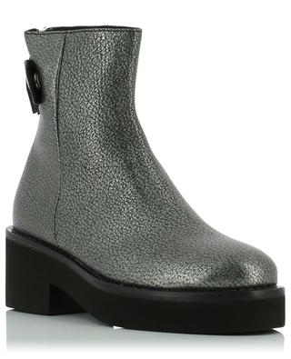 Silver grained leather ankle boots VIC MATIE