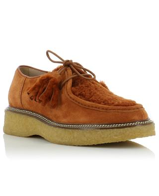 Suede and lamb shearling derby shoes TOD'S