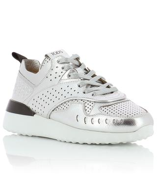 Sneakers aus silbernem Leder Fondo Sportivo TOD'S