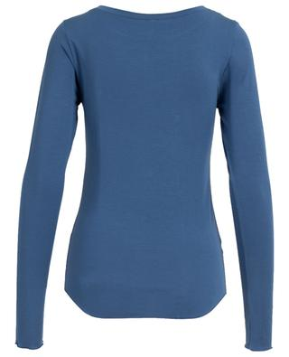 Bateau long-sleeved modal blend top BLUE LEMON