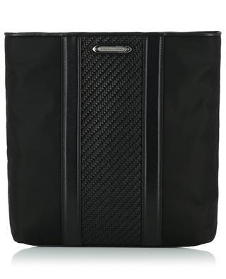 Messenger fabric and leather shoulder bag ERMENEGILDO ZEGNA