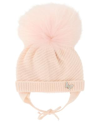 Butterfly and fur embellished beanie IL TRENINO