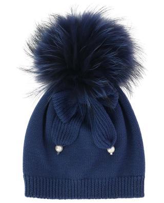 Perlen- und Pompon-besetzte Mütze IL TRENINO