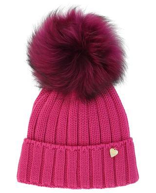 Mütze aus Wolle mit Pelzbommel IL TRENINO