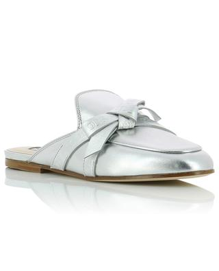 Silver leather mules TOD'S