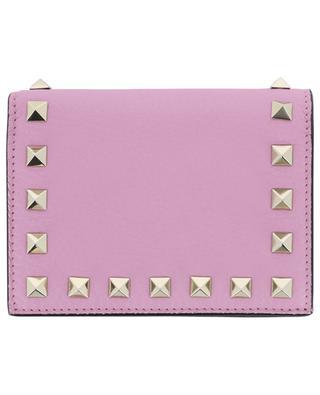 Kleine Brieftasche aus genarbtem Leder Compact Rockstud VALENTINO