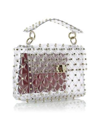 Rockstud Spike.It Plexy Medium transparent bag VALENTINO