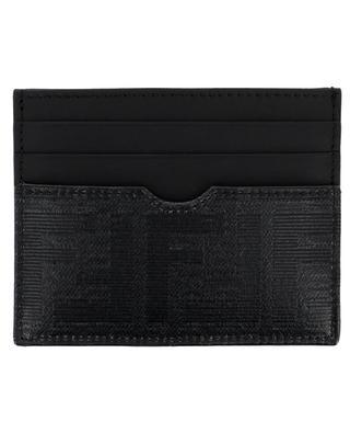Porte-cartes en cuir et tissu vitrifié FF FENDI