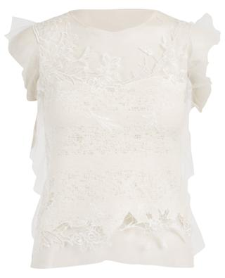 Sleeveless wool blend and embroidered tulle top ERMANNO SCERVINO