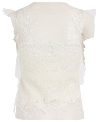 Sleeveless wool blend and embroidered tulle top ERMANO SCERVINO