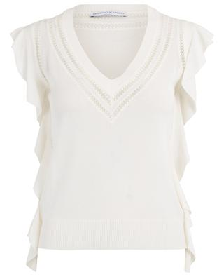 Ruffled lace embellished top ERMANO SCERVINO
