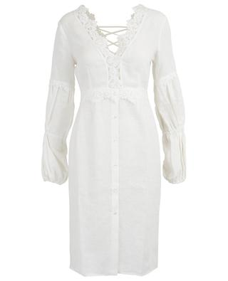 Linen beach dress with embroideries and lacing ERMANNO SCERVINO