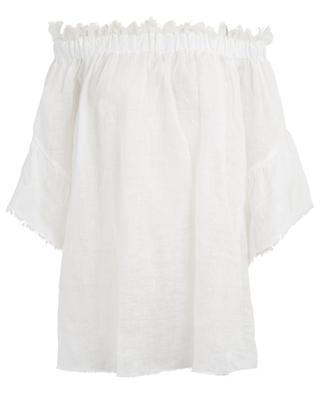 Lace adorned linen off-shoulder top ERMANNO SCERVINO