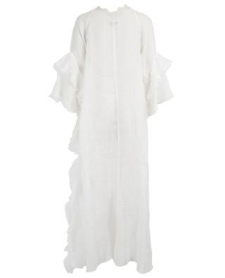 Long linen beach dress with lace and ruffles ERMANNO SCERVINO