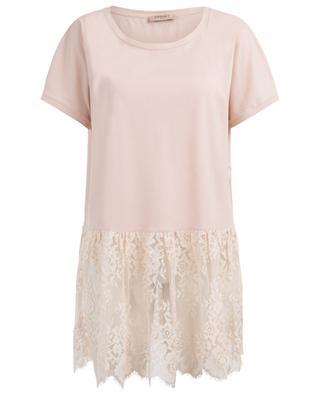 T-shirt long en coton et dentelle TWINSET