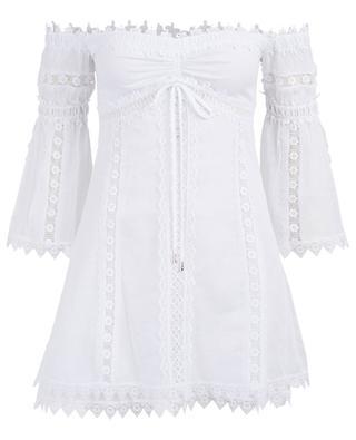 Schulterfreies kurzes Kleid mit Klöppelspitze Campana CHARO RIUZ IBIZA