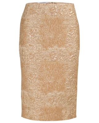 Tartan Flower golden pencil skirt VALENTINO