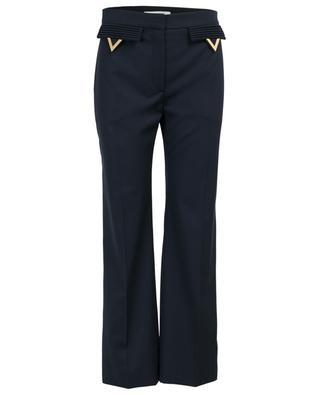 Pantalon droit en laine détail V doré VALENTINO