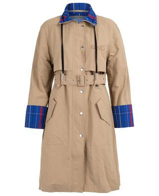 Tartan detail microfibre trench coat KENZO