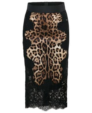 Leopard and lace pencil skirt DOLCE & GABBANA