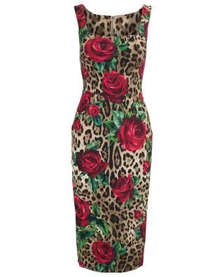 Leopard and rose sheath dress DOLCE & GABBANA