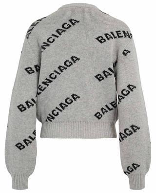 Pull court en laine Logo BALENCIAGA