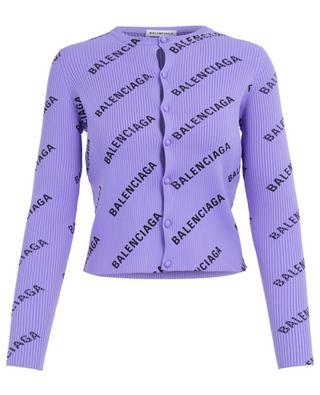 Schmaler Rippstrick-Cardigan All Over Logo BALENCIAGA
