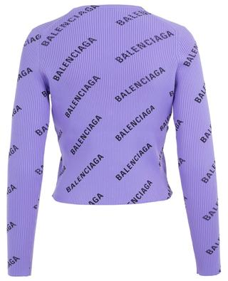 Cardigan côtelé ajusté All Over Logo BALENCIAGA