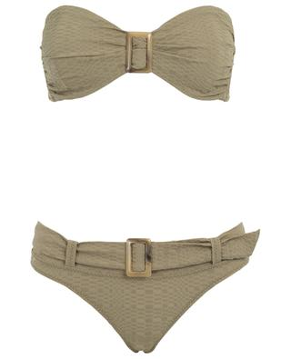 Bikini aus Seersucker mit Gürtel Buckle Bandeau LISA MARIE FERNANDEZ