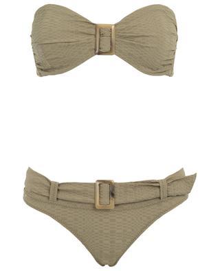 Bikini en seersucker avec ceinture Buckle Bandeau LISA MARIE FERNANDEZ