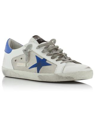 Superstar leather and fabric sneakers with blue star GOLDEN GOOSE
