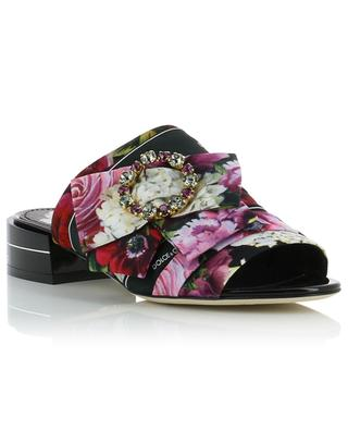 Keira crystal-embellished floral fabric and leather mules DOLCE & GABBANA