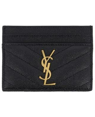 Porte-cartes en cuir texturé Monogram SAINT LAURENT PARIS