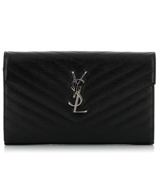 Monogramm chain wallet in textured leather SAINT LAURENT PARIS