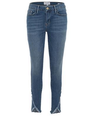 Ausgewaschene Jeans Le Skinny de Jeanne Asymmetrical Raw Hem FRAME