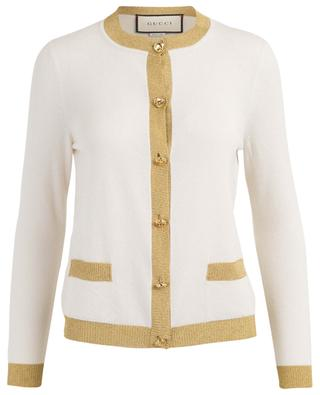 GG button cashmere, silk and Lurex cardigan GUCCI