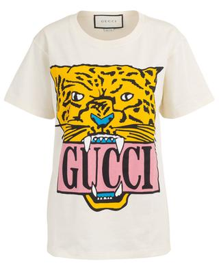 Tiger and logo printed cotton T-shirt GUCCI