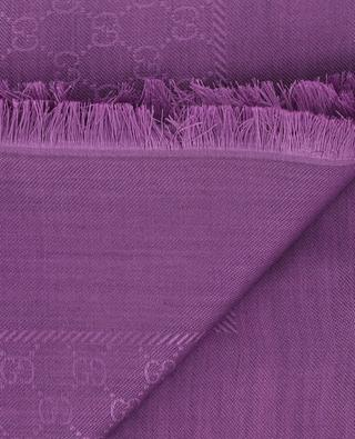 GG logo silk and wool scarf GUCCI