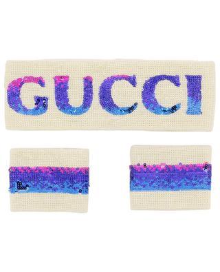 Stirnband und Handgelenkbänder aus Baumwolle und Pailletten GUCCI