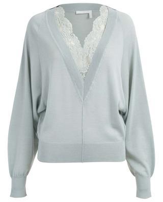 Floral lace embellished V-neck jumper CHLOE