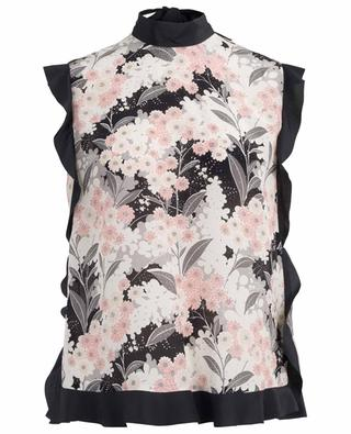 Breezy floral print top with frills RED VALENTINO