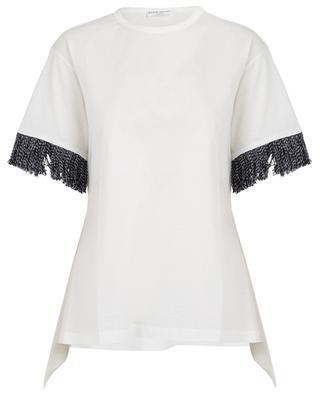 Asymmetrical tweed fringe T-shirt with logo SONIA RYKIEL