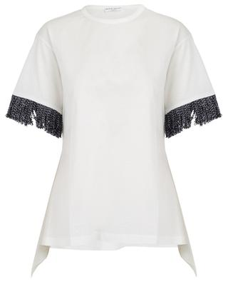 Asymmetrisches T-Shirt mit Tweed-Fransen und Logo SONIA RYKIEL
