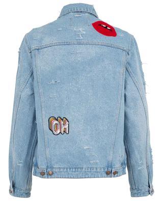 Bestickte, zerschnittene Jeansjacke Patch FORTE COUTURE