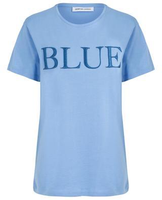 Boyfriend-T-Shirt mit Slogan Blue QUANTUM COURAGE
