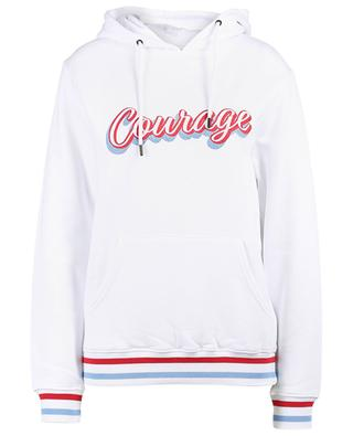 Courage embroidered cotton and modal hoodie QUANTUM COURAGE